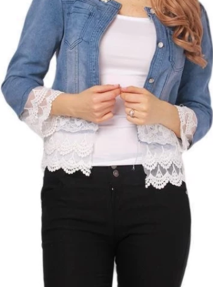 Cropped denim jacket with lace