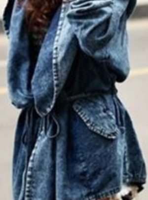 Denim hooded wrap trench coat