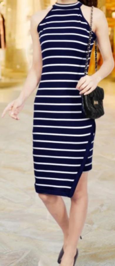 Summer striped halter midi dress