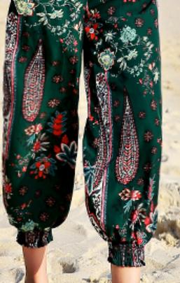 Paisley print loose-fit capri pants