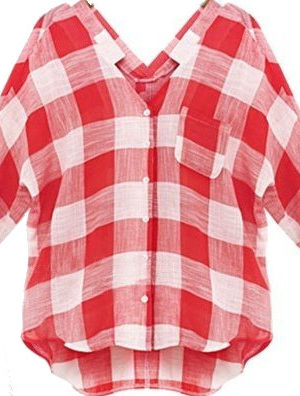 Loose short sleeve plaid shirt