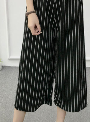 Striped elastic waist harem pants