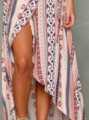 Boho asymmetrical printed maxi skirt