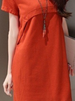 Korean short sleeve midi dress