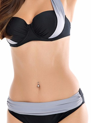 High waist push-up halter bikini