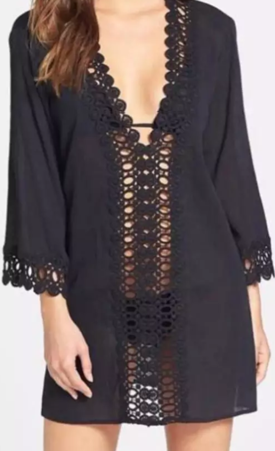 Sheer tunic cover-up with crochet finish