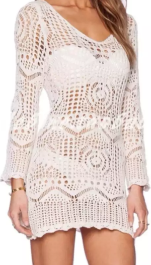 Long sleeve crochet beach dress