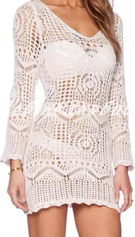 Long sleeve crochet beach dress