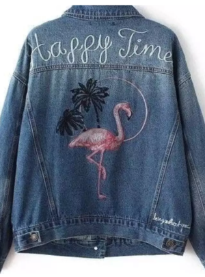 Embroidered flamingo denim jacket