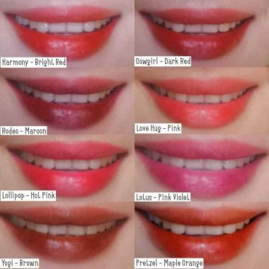 8 lips showing different shades of lip tints