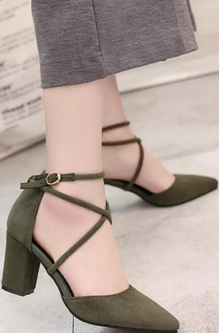 Pointed toe strappy block heels