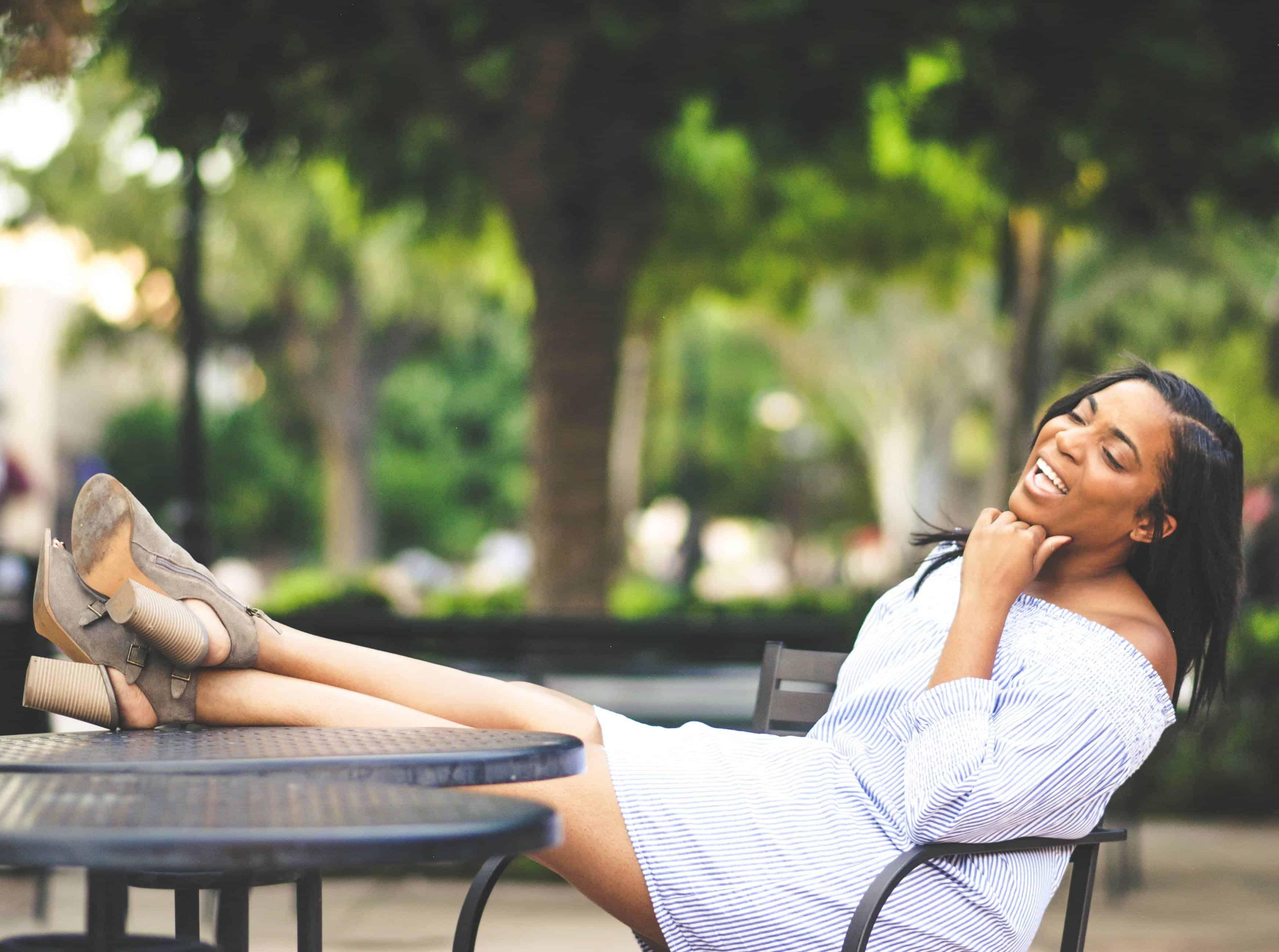 Happy woman in heels