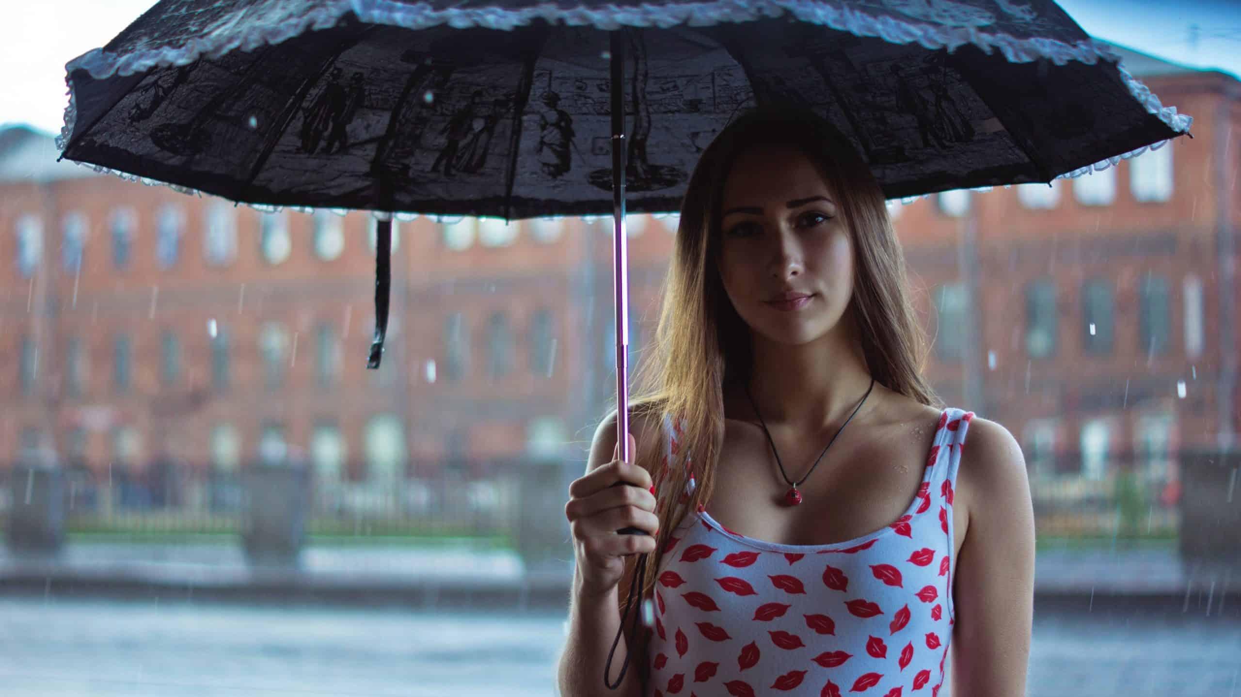 blonde in the rain