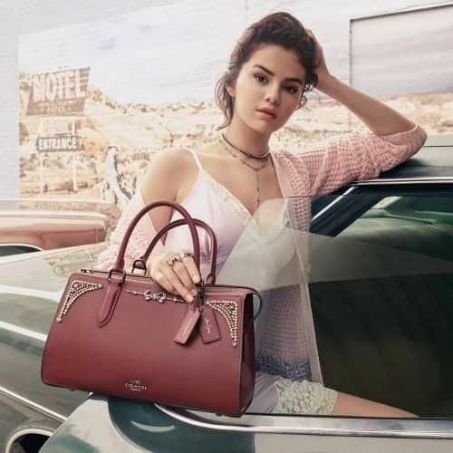 Selena Gomez slip and handbag