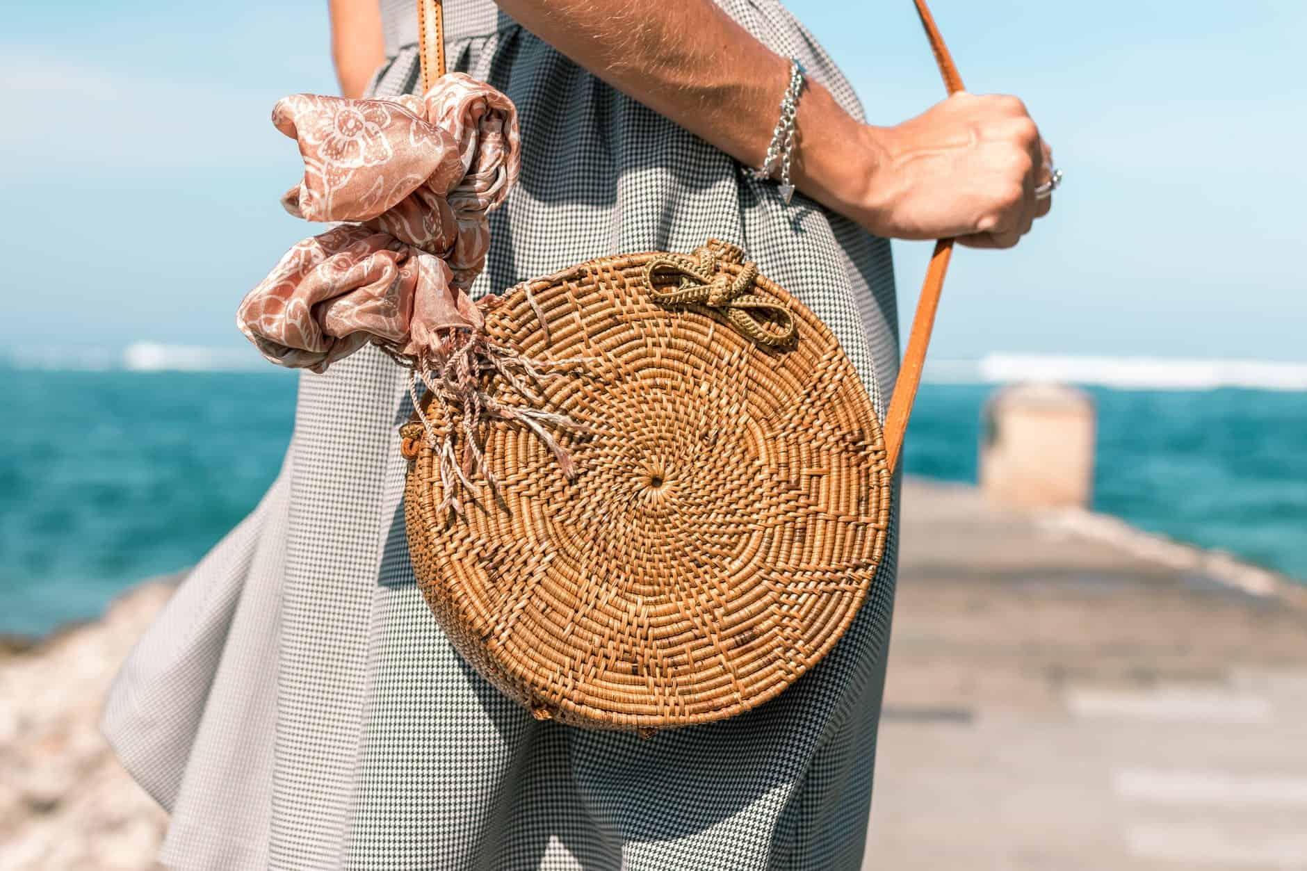 circular woven handbag
