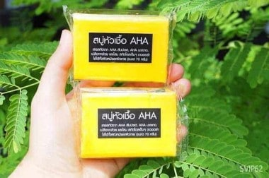 Two AHA Soaps in a hand