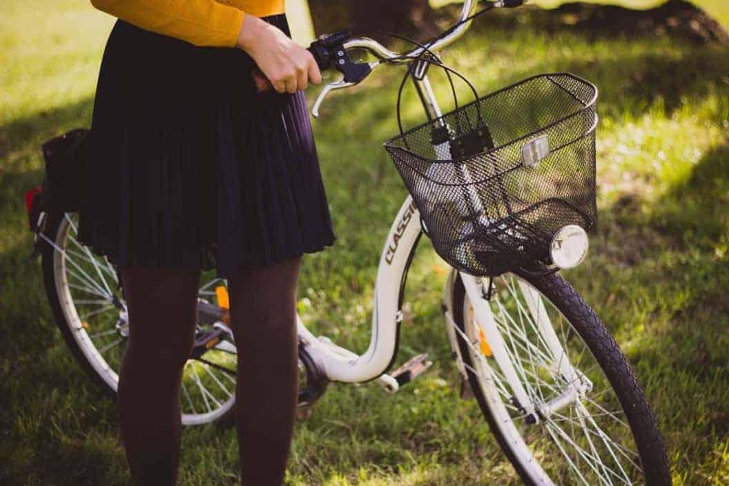 girl in black pleated skirt