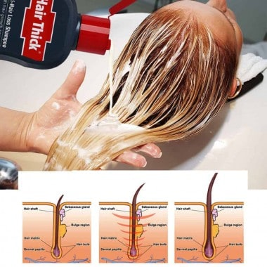 Dexe C1 Hair Thick Shampoo being used to wash hair with diagram