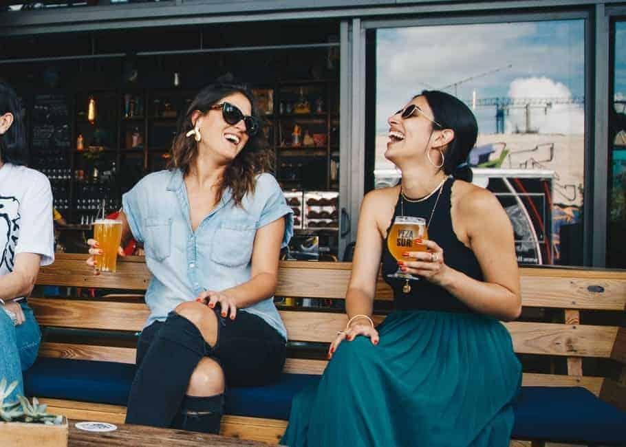 Girls in outdoor bar